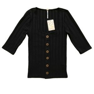 New FREE PEOPLE Black Central Park Knit Top XS